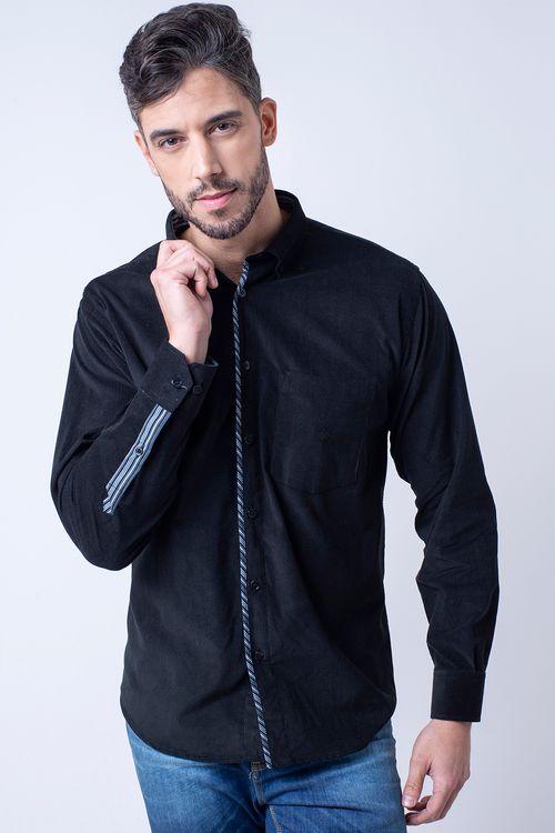 Camisa casual masculina tradicional veludo preto f01529a