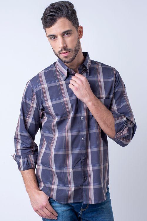 Camisa casual masculina tradicional algodão fio 50 grafite f01668a
