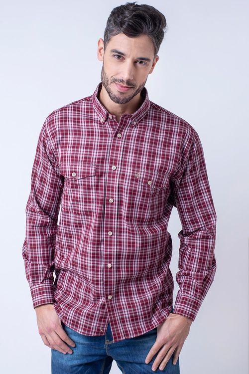 Camisa casual masculina flanela light vermelho f01835a