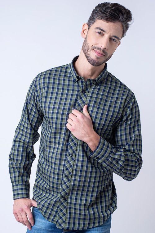 Camisa casual masculina flanela light verde f01840a