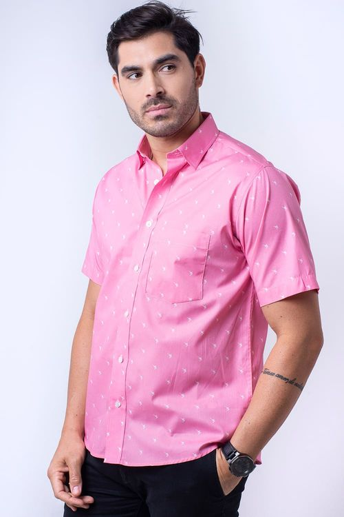 Camisa casual masculina algodão fio 60 rosa f05990a