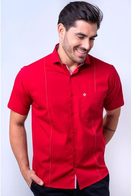 Camisa casual masculina tradicional algodão fio 60 vermelho f01145a