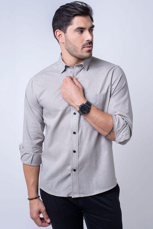 Camisa casual masculina tradicional linho misto bege f01295a