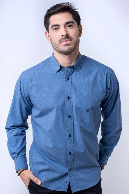 Camisa casual masculina tradicional flanela azul f01677a
