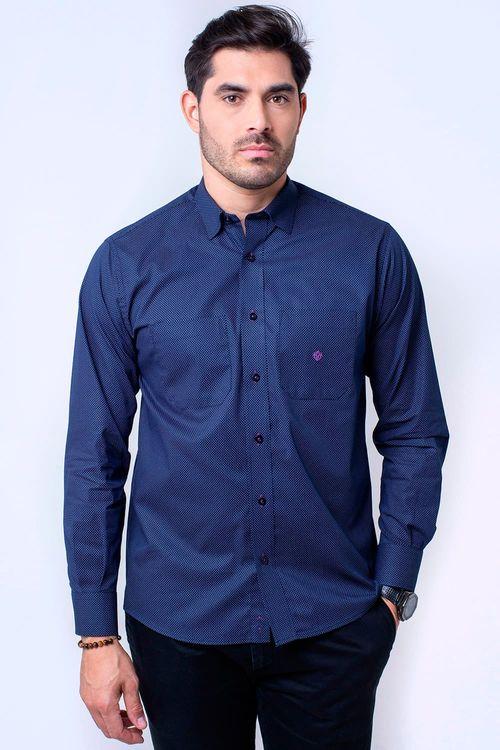 Camisa casual masculina tradicional algodão fio 40 azul escuro f01862a