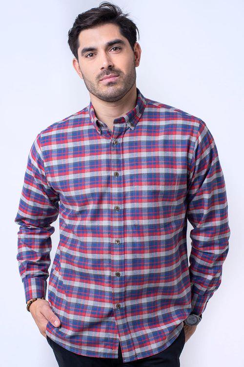 Camisa casual masculina tradicional flanela vermelho f05689a
