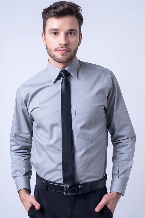 Camisa social masculina tradicional algodão fio 40 cinza f09935a