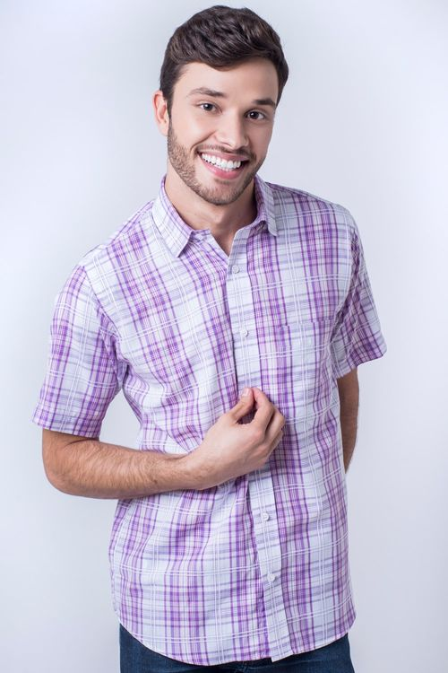 Camisa casual masculina tradicional algodão fio 40 rosa f05541a
