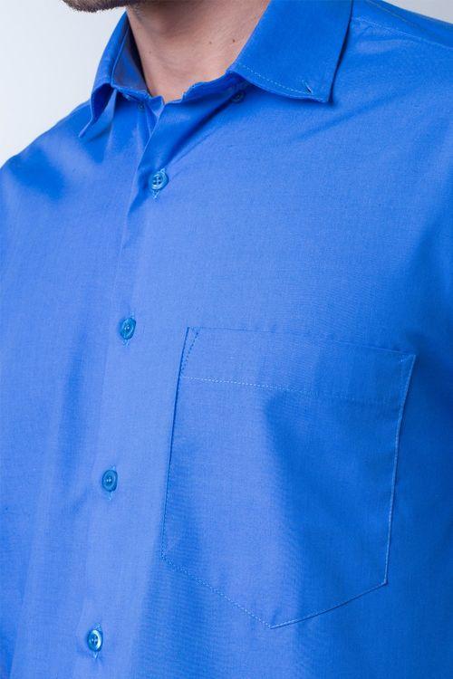 Camisa casual masculina tradicional algodão misto azul médio r09926a