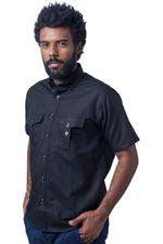 Camisa-casual-masculina-tradicional-sarjada-preto-f01700a-5