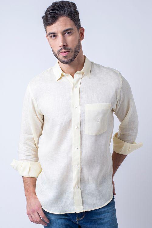 Camisa casual masculina puro linho tradicional creme f03943a