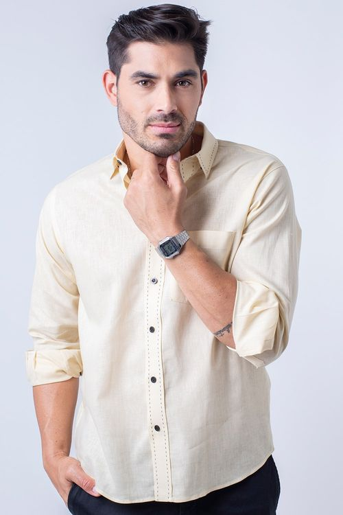 Camisa casual masculina tradicional linho misto amarelo f01295a
