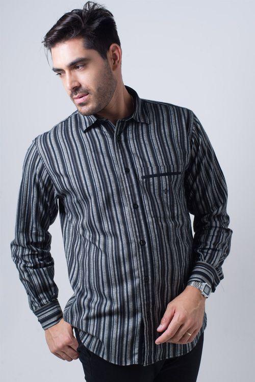 Camisa casual masculina tradicional flanela preto f01206a
