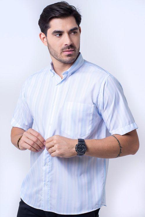 Camisa casual masculina tradicional microfibra azul claro f07523a