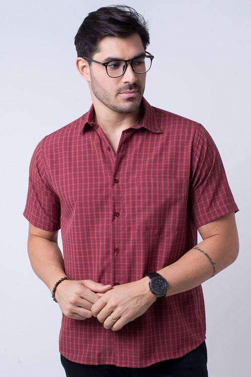 Camisa casual masculina tradicional microfibra vermelho f07525a