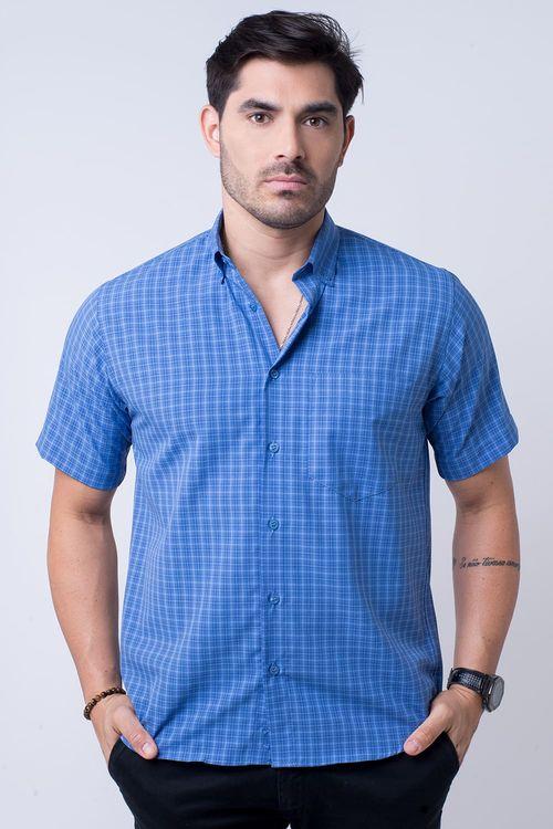 Camisa casual masculina tradicional microfibra azul f07525a
