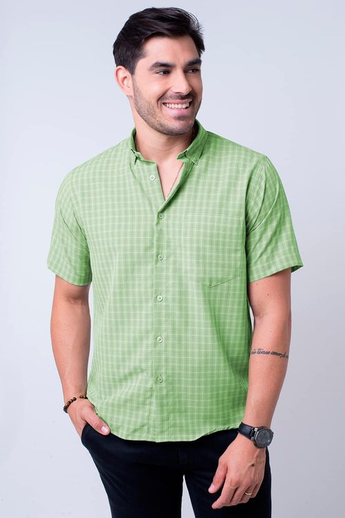 Camisa casual masculina tradicional microfibra verde f07525a