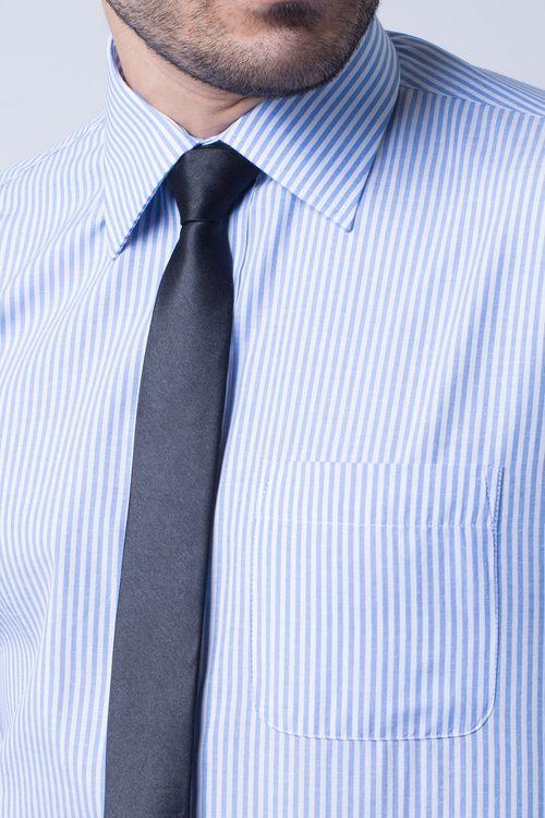 Camisa social masculina tradicional listrada azul claro f07600a
