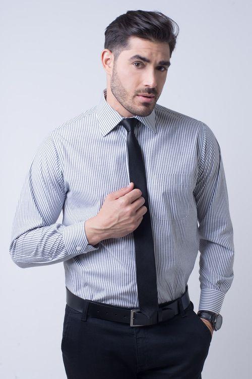 Camisa masculina social tradicional listrada grafite f07600a