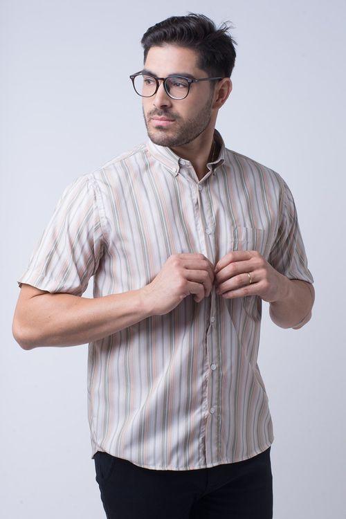 Camisa casual masculina tradicional microfibra laranja f07523a