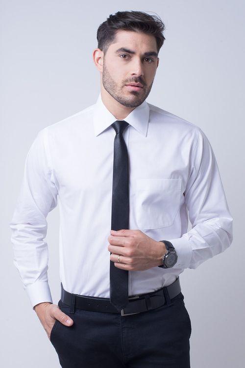 Camisa social masculina tradicional algodão fio 50 branco f08078a