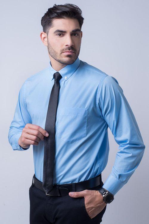 Camisa social masculina tradicional kit azul médio f09993a