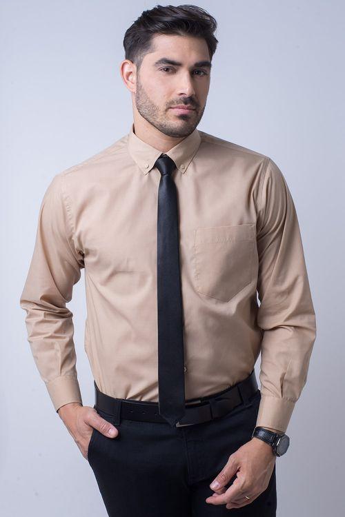 Camisa social masculina tradicional kit bege f09993a