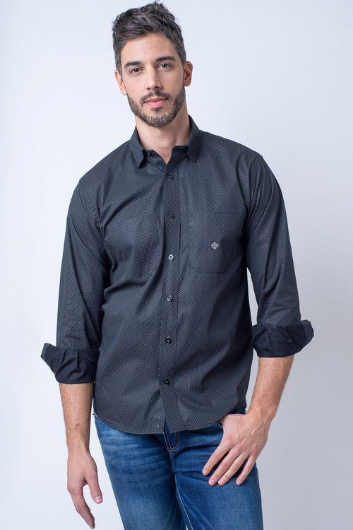 Camisa casual masculina tradicional algodão fio 40 preto f01862a