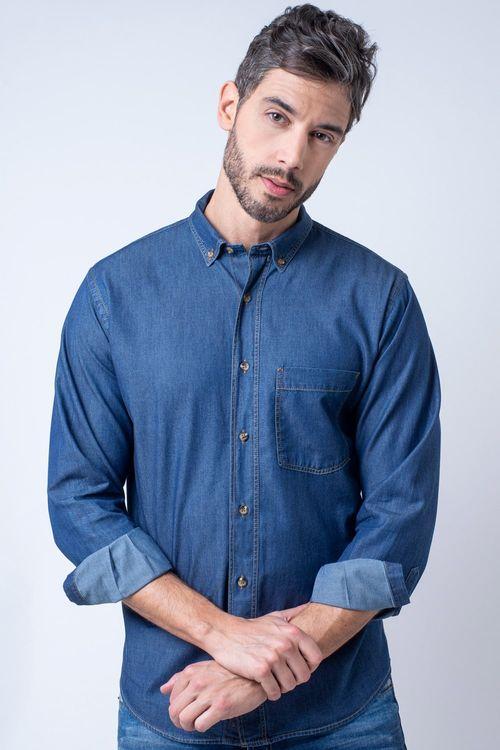 Camisa casual masculina tradicional jeans azul escuro f08844a
