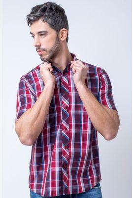 Camisa casual masculina tradicional algodão fio 50 bordo f01884a