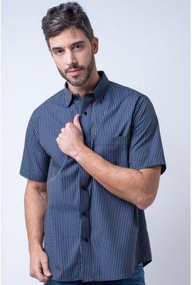 Camisa casual masculina tradicional algodão fio 50 preto f05198a
