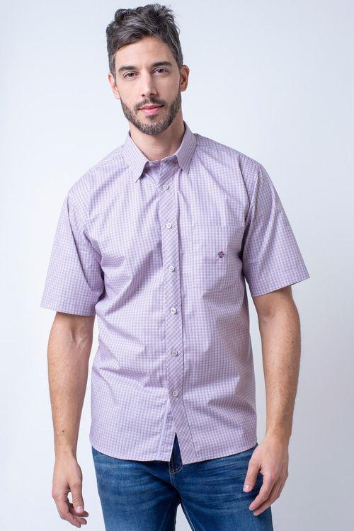 Camisa casual masculina tradicional algodão fio 50 lilás f11379a