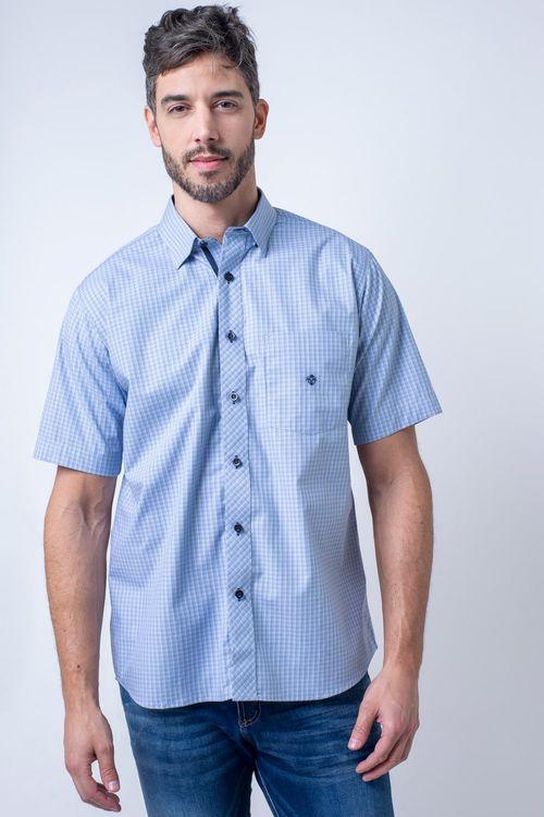 Camisa casual masculina tradicional algodão fio 50 azul médio f91381a