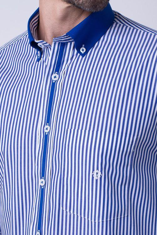 Camisa casual masculina tradicional algodão fio 80 azul f01147a