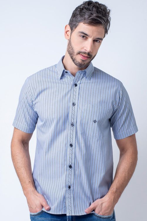 Camisa casual masculina tradicional algodão fio 50 azul claro f08467a