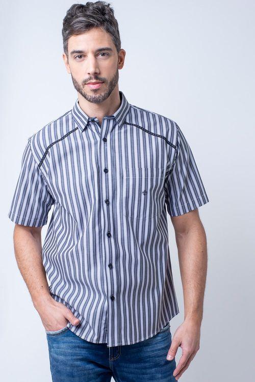 Camisa casual masculina tradicional algodão fio 50 preto f01196a