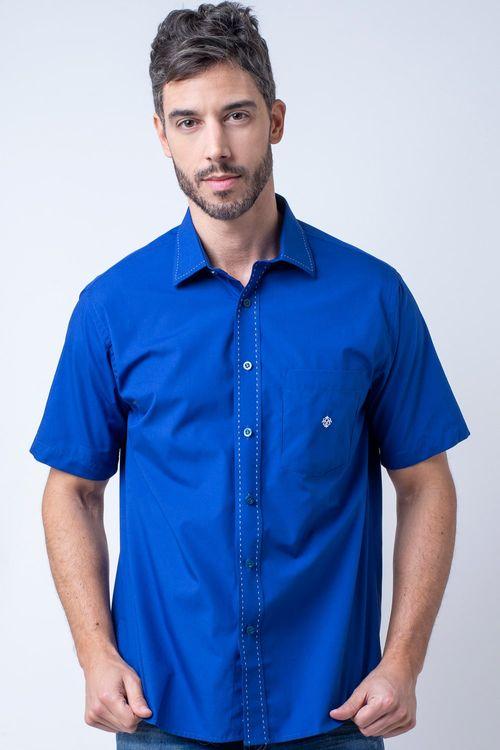 Camisa casual masculina tradicional algodão fio 60 azul f01272a