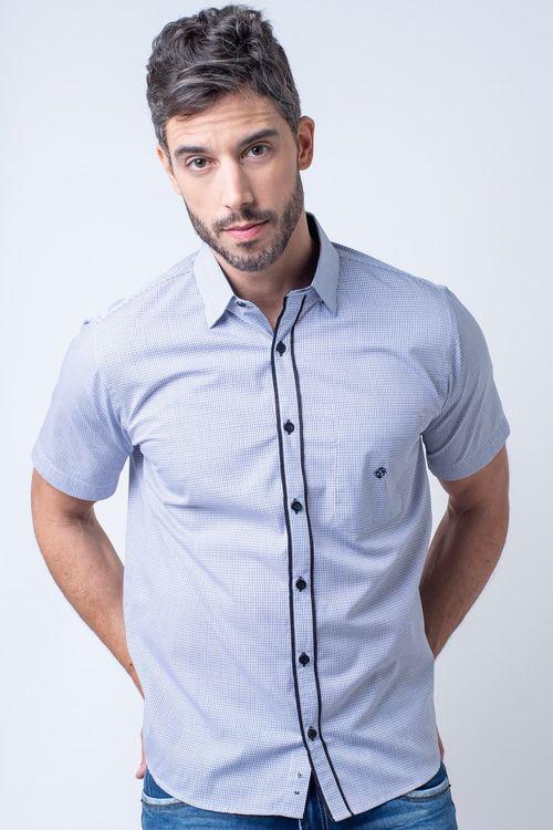 Camisa casual masculina tradicional algodão fio 50 azul claro f01386a