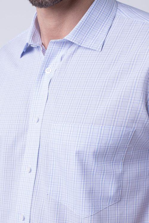 Camisa casual masculina tradicional algodão fio 40 azul claro f05527a
