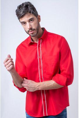 Camisa casual masculina tradicional algodão fio 40 vermelho f02043a