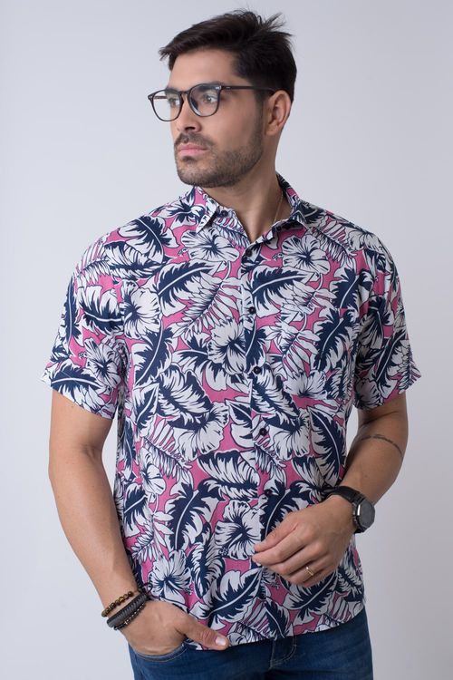 Camisa casual masculina tradicional rami rosa f02106a