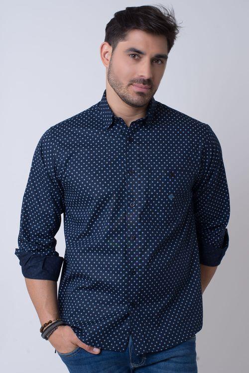 Camisa casual masculina tradicional algodão fio 40 azul escuro f01868a