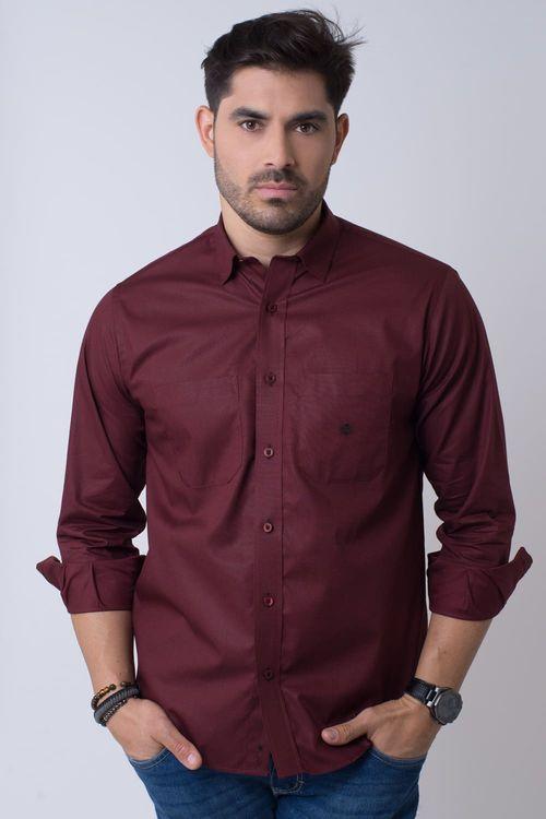 Camisa casual masculina tradicional algodão fio 40 bordo f01862a