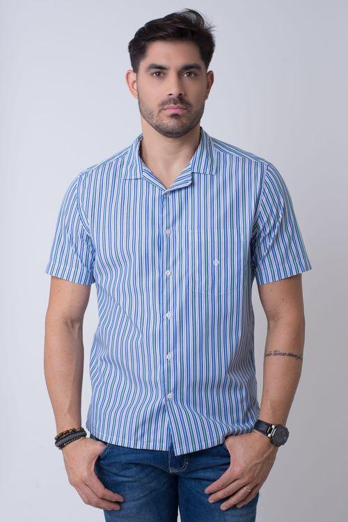Camisa casual masculina  justa algodão fio 60 azul f01506a