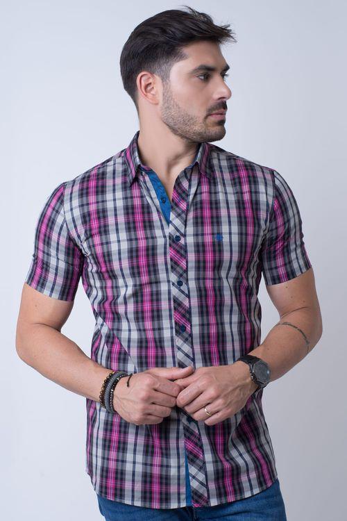 Camisa casual masculina slim algodão fio 50 pink f01371s
