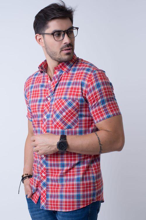 Camisa casual masculina slim algodão fio 50 vermelho f01357s