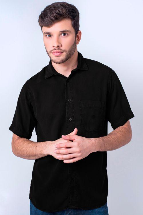 Camisa casual masculina tradicional tencel preto f06020a
