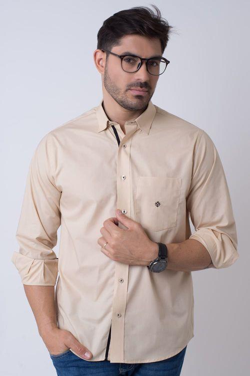 Camisa casual masculina tradicional algodão fio 50 bege f01943a