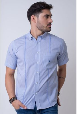 Camisa casual masculina tradicional algodão fio 60 azul f01381a