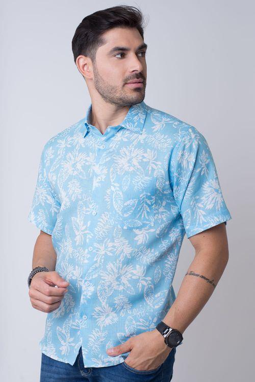 Camisa casual masculina tradicional rami azul claro f02102a